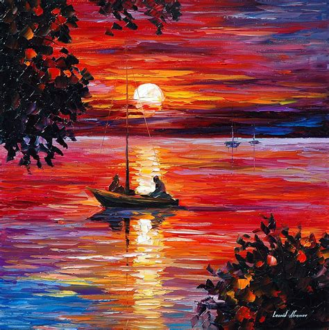 NIGHT FISHING — PALETTE KNIFE Oil Painting On Canvas By