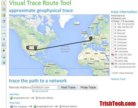 Visual Trace Route Tool Shows Map of Traced Network Route