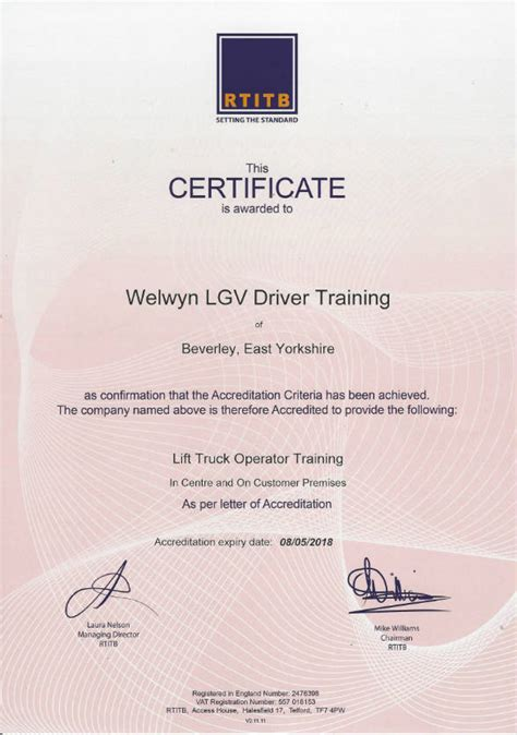 We are now an RTITB Accredited Centre! - Welwyn LGV