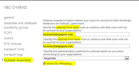 Exchange 2013: Configuring Outlook anywhere