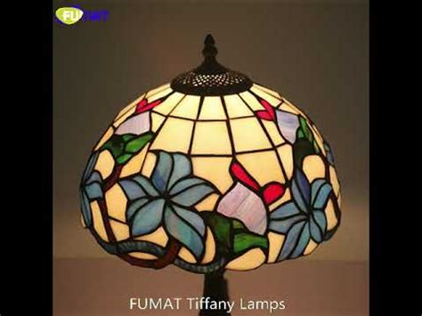 FUMAT tiffany style blue orchid desk lamp green leaf red