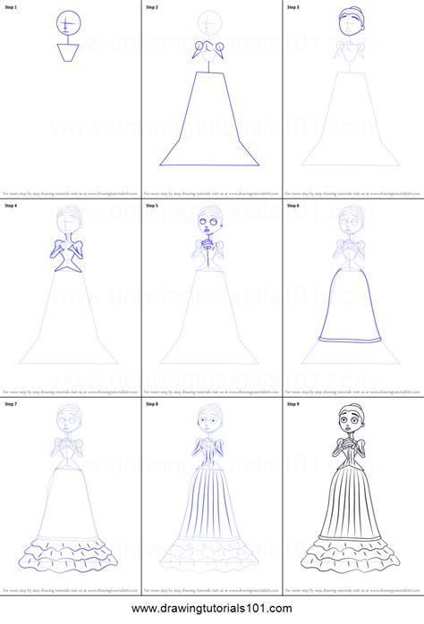 How to Draw Victoria Everglot from Corpse Bride printable