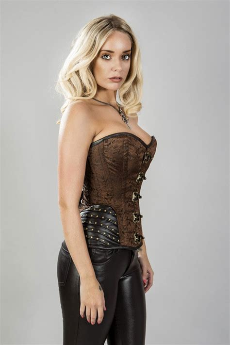 Brown Brocade Overbust Corset with Leatherette Hip Panels