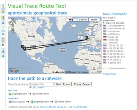 Free Online Visual Trace Route Tool